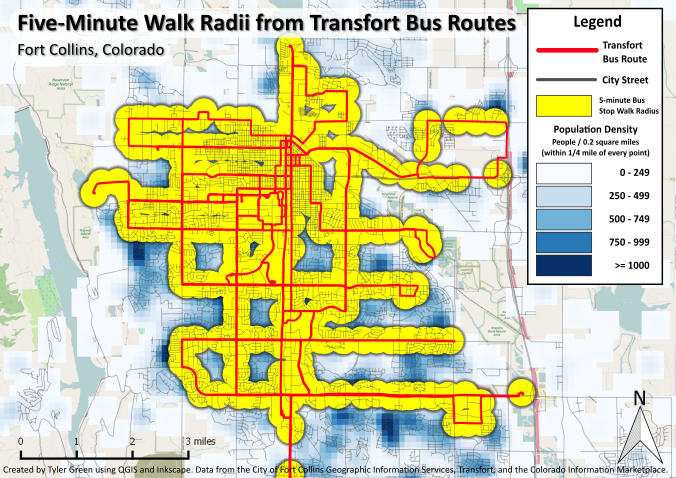 Five-Minute Walk Radii from Transfort Bus Stops