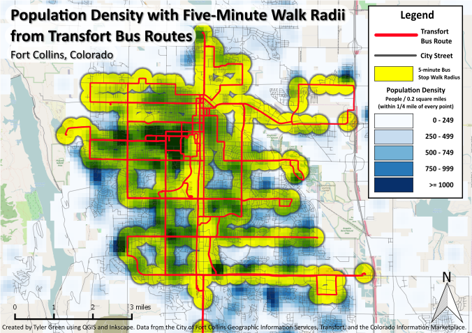 Population Density with Five-Minute Walk Radii from Transfort Bus Stops