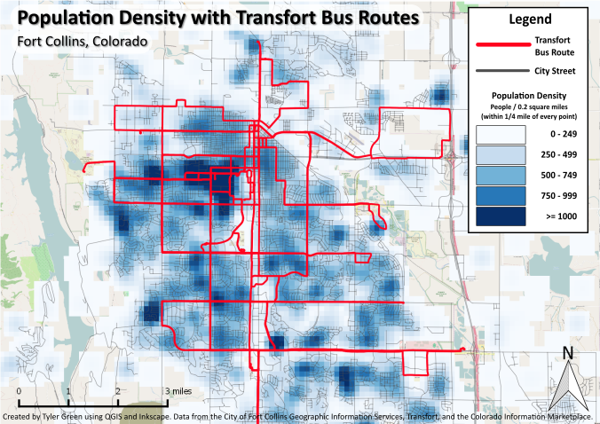 Population Density with Transfort Bus Stops