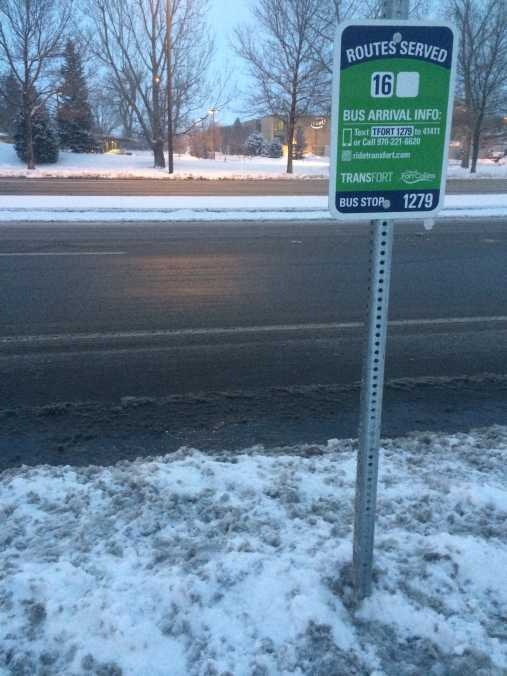 A Transfort bus stop in the snow.