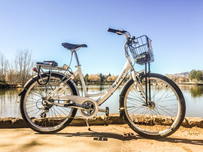 My Zagster bike at City Park Lake. The new bike share is a great improvement for mobility in Fort Collins!