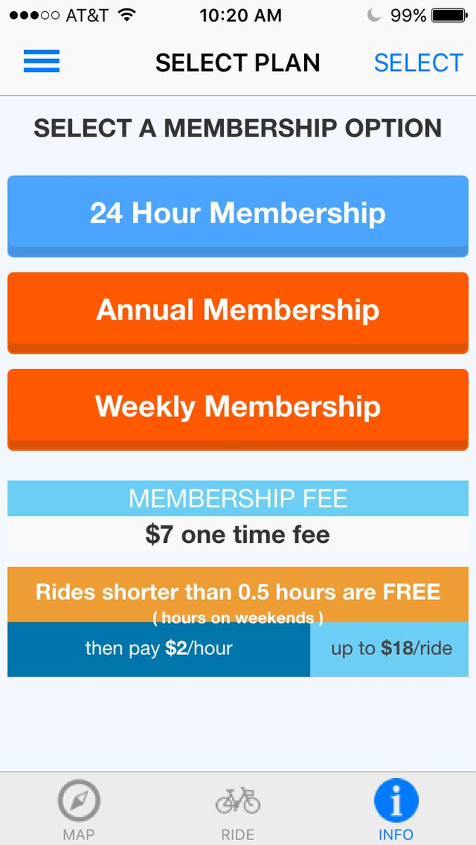 Screenshot of the Zapster app for the 24 hour membership.