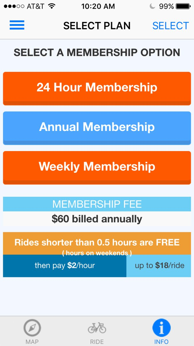 Screenshot of the Zapster app for the annual membership.