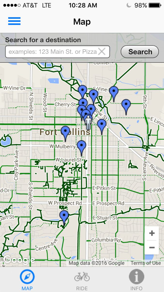 Map of bike share stations in north Fort Collins.