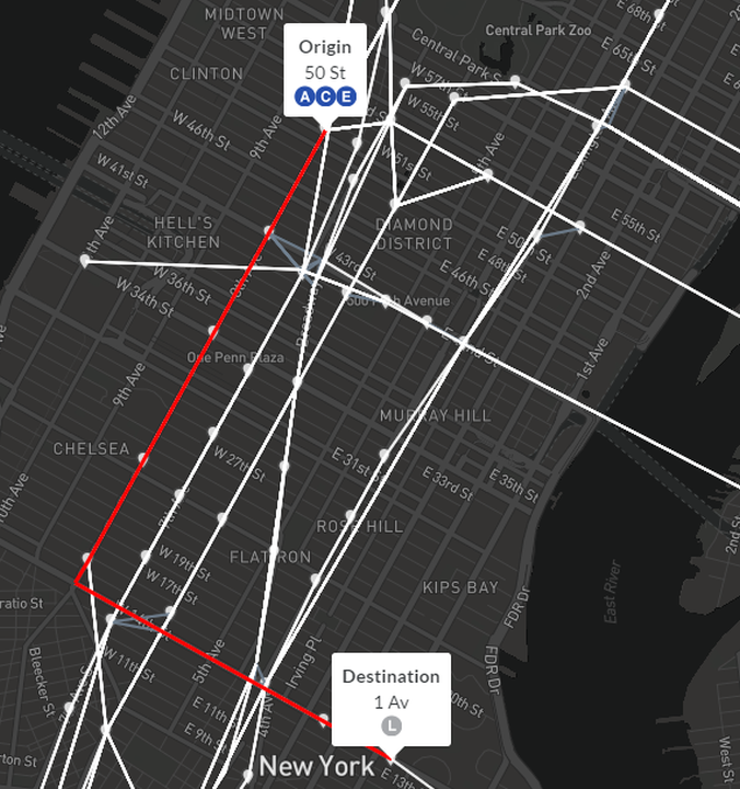 A sample shortest-path from 50th St to 1 Av. The routes are calculated from the GTFS feed based on the trips that pass through that stop. This can periodically result in slightly different route listings than the official MTA map.