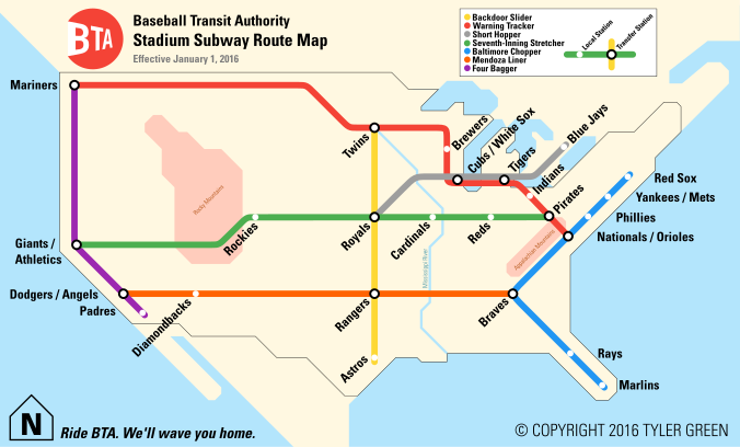 Baseball Transit Authority Map